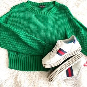 Top Shop Green Cropped Sweater w/ Zara Pants XS